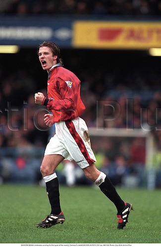 DAVID BECKHAM celebrates scoring his first goal of the match, Chelsea 3 v MANCHESTER UNITED 5, FA Cup, 980104. Photo: Glyn Kirk/Action Plus...1998.Football Soccer.Footballer footballers.Man Utd.premiership.celebrations celebration celebrate.joy celebrating