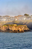 The town of Mendocino with fog. California