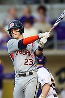 Auburn Tigers second baseman Jordan Ebert #23 looks at the third base coach against the LSU Tigers in the NCAA baseball game on March 22nd, 2013 at Alex Box Stadium in Baton Rouge, Louisiana. LSU defeated Auburn 9-4. (Andrew Woolley/Four Seam Images).