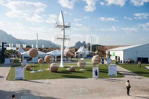 An overview of the Athletes Park, close to the main UN venue at Riocentro, has pavilins for many nations and venues for side meetings. United Nations Conference on Sustainable Development (Rio+20), Rio de Janeiro, Brazil, 14th June 2012. Photo © Sue Cunningham.
