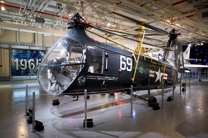 NEW YORK CITY, NY – JULY 9: A helicopter on display in the Intrepid Sea Air Space Museum on July 9, 2011 in Manhattan, New York City.