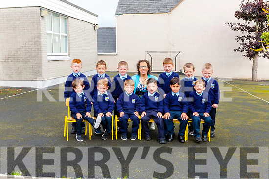 Children attending their first day at school at St. Mary's Boys' N.S. Abbeyfeale pictures with their teasher Ms. Julie O' Brien. <br /> Seated: Dylan Moriarty, Mark Kavanagh, Braxton Ward, Martin O' Brien, Taimoor Muhammed, Szmon Hejka. <br /> Back: John O' Brien, Julian Barberaz, Jake Murphy, Ivan Lyons, Ricky O' Brien, Kevin Ward.