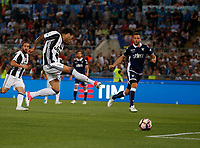 Dani Alves shoots and scores  during the Italian Cup Final  football match between Juventus FC and SS Lazio at  the Olympic stadium in Rome, Italy on the 17th May 2017