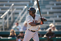 San Jose Giants first baseman Frandy De La Rosa (43) at bat during a California League game against the Modesto Nuts at John Thurman Field on May 9, 2018 in Modesto, California. San Jose defeated Modesto 9-5. (Zachary Lucy/Four Seam Images)