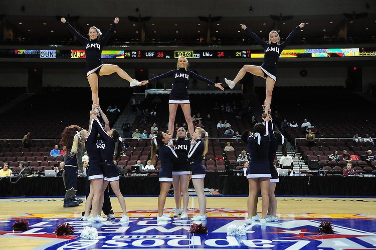 February 29, 2012; Las Vegas, NV, USA; Loyola Marymount Lions cheerleaders perform against the San Francisco Dons during the WCC Basketball Championships at Orleans Arena.
