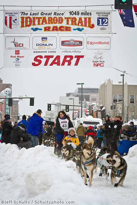 Karin Hendrickson leaves the 2011 Iditarod ceremonial start line in downtown Anchorage, during the 2012 Iditarod..Jim R. Kohl/Iditarodphotos.com