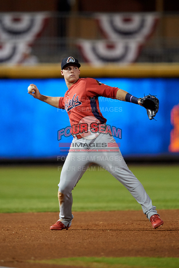 Peoria Chiefs third baseman Nolan Gorman (4) throws to first base during a game against the Bowling Green Hot Rods on September 15, 2018 at Bowling Green Ballpark in Bowling Green, Kentucky.  Bowling Green defeated Peoria 6-1.  (Mike Janes/Four Seam Images)