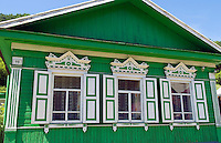 Wooden houses with shutters, Listvyanka near  Irkutsk, Siberia, Russia