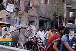 Street traffic in the Paharganj district of New Delhi, India.