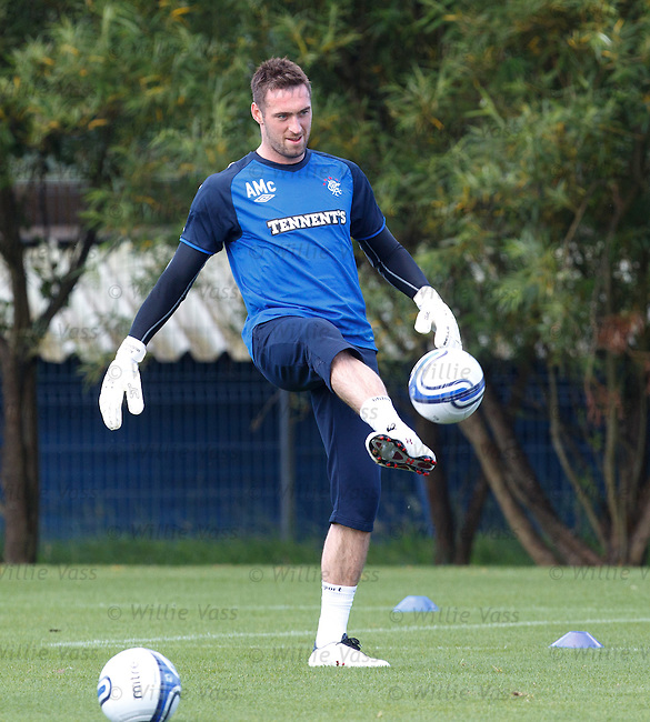 Goalkeeper Allan McGregor all smiles at training as Rangers are about to offer him a contract extension