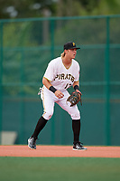 GCL Pirates first baseman Nick Patten (17) during the first game of a doubleheader against the GCL Yankees East on July 31, 2018 at Pirate City Complex in Bradenton, Florida.  GCL Yankees East defeated GCL Pirates 2-0.  (Mike Janes/Four Seam Images)