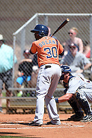 Houston Astros outfielder Jose Solano (30) during a minor league spring training game against the Detroit Tigers on March 21, 2014 at Osceola County Complex in Kissimmee, Florida.  (Mike Janes/Four Seam Images)