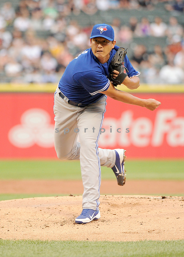 Toronto Blue Jays Chien-Ming Wang (67) during a game against the Chicago White Sox on June 11, 2013 at US Cellular Field in Chicago, IL. The Blue Jays beat the White Sox 7-5.