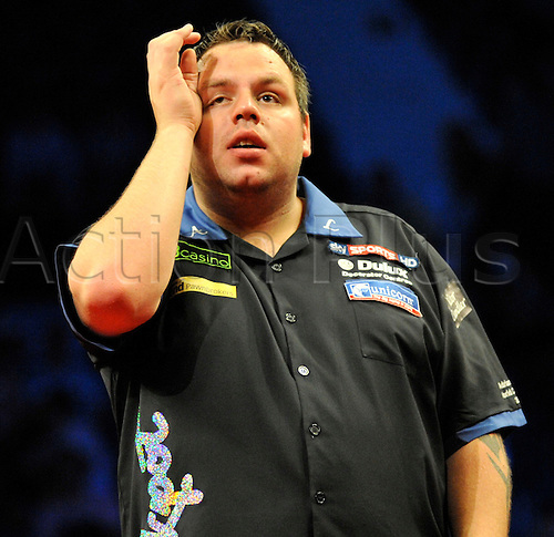 19.05..2011 Premier League Darts Finals from Wembley Arena. drian Lewis looks frustrated during his 10-3 final defeat to Gary Anderson