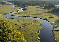 salt marsh estuary aerial, North River, Norwell, MA