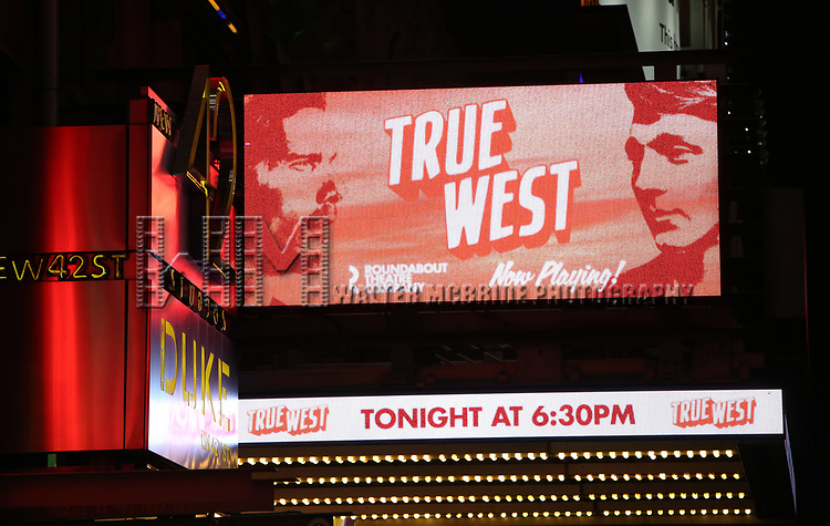 """Theatre Marquee for the Broadway Opening Night Performance for the Roundabout Theatre Production of """"True West"""" at the American Airlines Theatre on January 24, 2019 in New York City."""