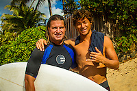 HONOLULU - (Thursday, November 15, 2012) Mark Occhilupo (AUS) and Kalani Robb (HAW). -- The REEF Hawaiian Pro at Haleiwa Ali'i Beach Park - the first jewel of the $1million Vans Triple Crown of Surfing was ready for an 8am start this morning but was put on hold till 12.30 pm because of small surf conditions.  As the surf increased during the afternoon the first 12 heats of the Round of 128 were completed with Mason Ho (HAW) scoring the 'wave of the day' on the last wave of the last heat. Ho scored a double barrel to easily win his heat.  Photo: joliphotos.com