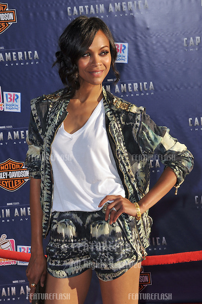 "Zoe Saldana at the premiere of ""Captain America: The First Avenger"" at the El Capitan Theatre, Hollywood..July 19, 2011  Los Angeles, CA.Picture: Paul Smith / Featureflash"