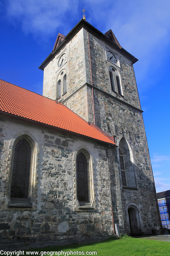 Tower of historic church building, Var Frue Kirke,  Trondheim, Norway