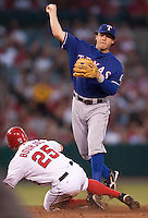 08/16/11 Anaheim, CA: Texas Rangers second baseman Ian Kinsler #5 during an MLB game played between the Texas Rangers and the Los Angeles Angels at Angel Stadium. The Rangers defeated the Angels 7-3.