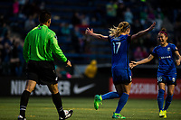 Seattle, Washington -  Saturday April 22, 2017: Beverly Yanez and Nahomi Kawasumi celebrate during a regular season National Women's Soccer League (NWSL) match between the Seattle Reign FC and the Houston Dash at Memorial Stadium.
