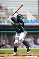 Vermont Lake Monsters first baseman Miguel Guzman (3) at bat during a game against the Auburn Doubledays on July 13, 2016 at Falcon Park in Auburn, New York.  Auburn defeated Vermont 8-4.  (Mike Janes/Four Seam Images)