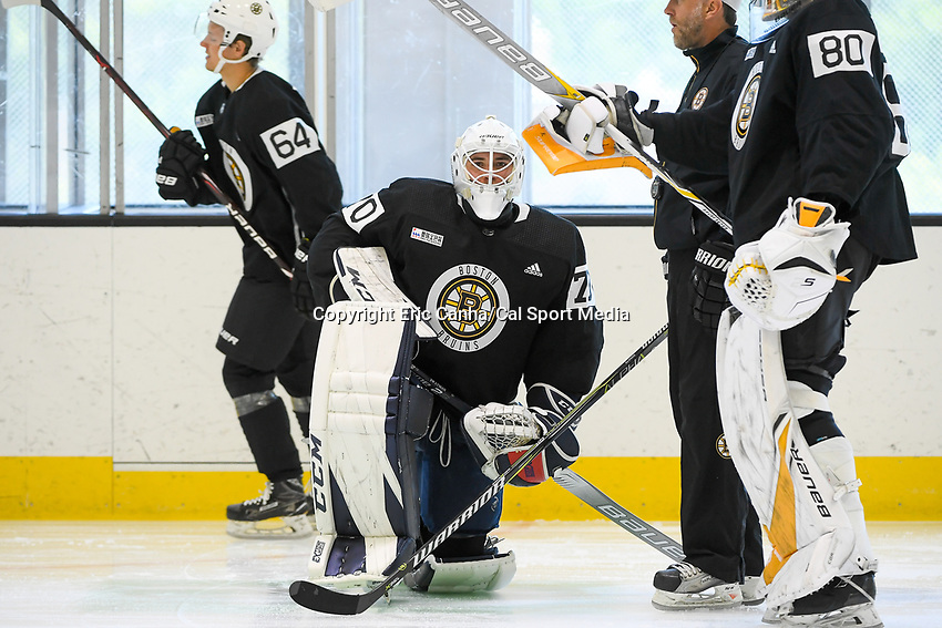 June 26, 2018: Boston Bruins goalie Jeremy Swayman (70) takes a knee during the Boston Bruins development camp held at Warrior Ice Arena in Brighton Mass. Eric Canha/CSM