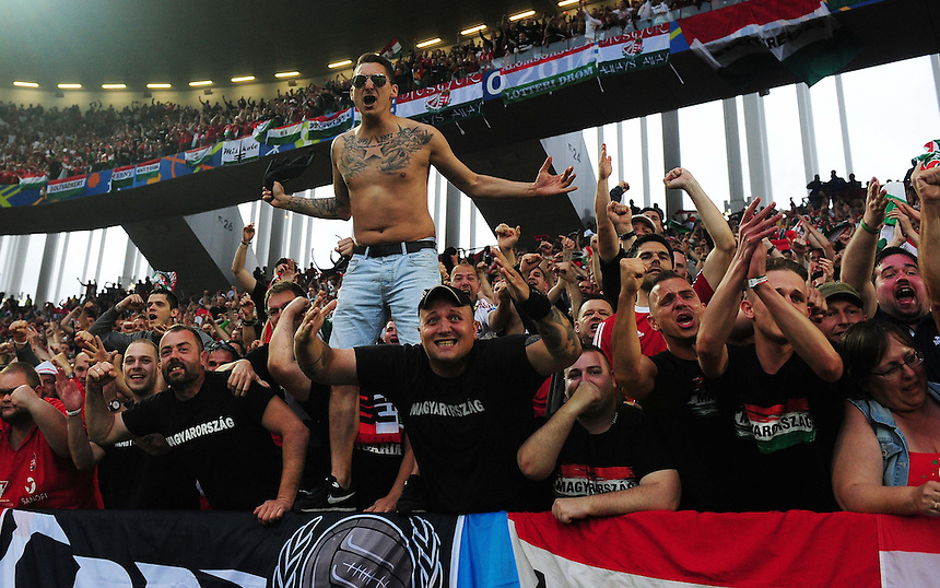 Hungary fans celebrate their sides first goal, scored by Adam Szalai (not in picture)<br /> <br /> Photographer Kevin Barnes/CameraSport<br /> <br /> International Football - 2016 UEFA European Championship -  Group F - Austria v Hungary - Tuesday 14th June 2016 - Stade de Bordeaux, Bordeaux, France<br /> <br /> World Copyright &copy; 2016 CameraSport. All rights reserved. 43 Linden Ave. Countesthorpe. Leicester. England. LE8 5PG - Tel: +44 (0) 116 277 4147 - admin@camerasport.com - www.camerasport.com