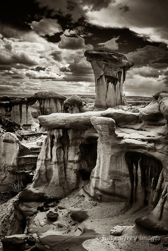 An eroded landscape of hoodoos in a remote section of Ah Shi Sle Pah Wash in New Mexico's San Juan Basin.