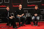 Moderator Hugo Lindgren with Matt Damon & Gus Van Sant on stage at TimesTalks at the Times Center in New York City. November 27, 2012.