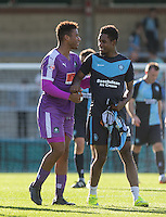 Goal scorers Reuben Reid of Plymouth Argyle and Jason Banton of Wycombe Wanderers enjoy a smile at the end of the match during the Sky Bet League 2 match between Wycombe Wanderers and Plymouth Argyle at Adams Park, High Wycombe, England on 12 September 2015. Photo by Andy Rowland.