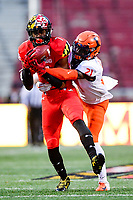 College Park, MD - OCT 27, 2018: Maryland Terrapins wide receiver Dontay Demus (7) picks up a big first down late in the third quarter of game between Maryland and Illinois at Capital One Field at Maryland Stadium in College Park, MD. The Terrapins defeated Illinois to move to 5-3 on the season. (Photo by Phil Peters/Media Images International)