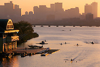 BU boathouse sunrise rowing Boston, MA Charles River Bosston University