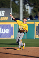 Andrew Snow (4) of the Arizona State Sun Devils makes a throw during a game against the Long Beach State Dirtbags at Blair Field on February 27, 2016 in Long Beach, California. Long Beach State defeated Arizona State, 5-2. (Larry Goren/Four Seam Images)