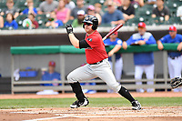 Birmingham Barons designated hitter Mason Robbins (17) swings at a pitch during a game against the Tennessee Smokies at Smokies Stadium on May 6, 2018 in Kodak, Tennessee. The Smokies defeated the Barons 6-2. (Tony Farlow/Four Seam Images)