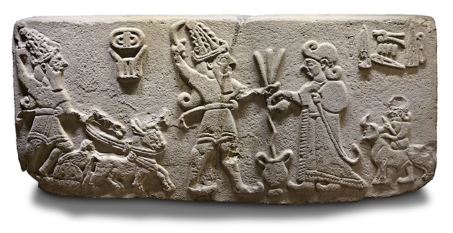 """Photo of Neo-Hittite orthostat from Karkamis, Turkey. Ancora Archaeological Museum.  The meeting of the """"Storm God"""" on right and a King on the left. 5"""