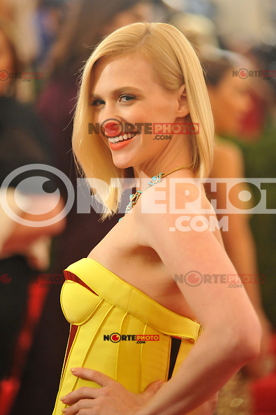 January Jones at the 'Schiaparelli And Prada: Impossible Conversations' Costume Institute Gala at the Metropolitan Museum of Art on May 7, 2012 in New York City. ©mpi03/MediaPunch Inc.