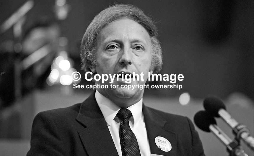 Arthur Scargill, president, National Union of Mineworkers, trade union, UK, speaking at Trades Union Congress annual conference 1984. 19840102AS8.<br />