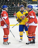 Roman Horak (Czech Republic - 23), Gabriel Landeskog (Sweden - 14), Robin Soudek  (Czech Republic - 17) - Sweden defeated the Czech Republic 4-2 at the Urban Plains Center in Fargo, North Dakota, on Saturday, April 18, 2009, in their final match of the 2009 World Under 18 Championship.