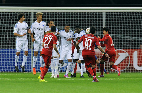 27.08.2014. Leverkusen, Germany. UEFA Champions League qualification match. Bayer Leverkusen versus FC Copenhagen.  Hakan Calhanoglu (Leverkusen) takes the direct free kick and scores for 2:0