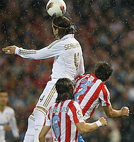 11.04.2012 MADRID, SPAIN - La Liga match played between At. Madrid vs Real Madrid (1-4) with hat-trick of Cristiano Ronaldo at Vicente Calderon stadium. The picture show Sergio Ramos (Spanish defender of Real Madrid)