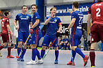 Mannheim, Germany, January 07: During the 1. Bundesliga Herren Hallensaison 2017/18 Sued  hockey match between Mannheimer HC (blue) and Nuernberger HTC (red) on January 7, 2018 at Irma-Roechling-Halle in Mannheim, Germany. Final score 7-4 (HT 2-2). (Photo by Dirk Markgraf / www.265-images.com) *** Local caption *** (L-R) Jossip Anzeneder #11 of Mannheimer HC, Paul Zmyslony #13 of Mannheimer HC, Jan-Philipp Fischer #23 of Mannheimer HC, Timm Haase #27 of Mannheimer HC