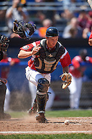 Batavia Muckdogs catcher Blake Anderson (26) during a game against the Williamsport Crosscutters on July 16, 2015 at Dwyer Stadium in Batavia, New York.  Batavia defeated Williamsport 4-2.  (Mike Janes/Four Seam Images)