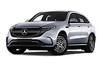 Stock pictures of low aggressive front three quarter view of a 2019 Mercedes Benz EQC AMG-Line 5 Door SUV