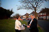 Labour Party MP Jacqui Smith on the election trail with her husband and campaign manager Richard Timney in Redditch, Worcestershire. Smith was Home Secretary but stood down after being implicated in the MPs' expenses scandal. Her husband became infamous when it was revealed that he had put the rental charge for two pornographic films on her parliamentary expenses. He watched them when she was not home.