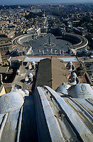 Looking over Saint Peter's Square and the buildings of Vatican City, Rome, Italy.
