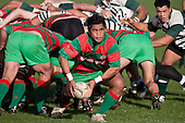 Notise Lafotasi passes from the back of a scrum as Michael Lea watches, Counties Manukau Premier Club Rugby game between Wauku & Manurewa played at Waiuku on Saturday June 6th. Manurewa won 36 - 31 after leading 14 - 12 at halftime.