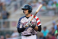 Brandon Dulin (31) of the Kannapolis Intimidators at bat against the Delmarva Shorebirds at Kannapolis Intimidators Stadium on July 3, 2017 in Kannapolis, North Carolina.  The Shorebirds defeated the Intimidators 5-2.  (Brian Westerholt/Four Seam Images)