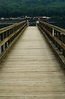 Wooden walkway to jetty. Deep Cove, North Vancouver, British Columbia, Canada.