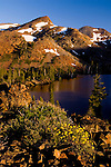 Morning light on alpine mountain peaks above Suzie Lake, Desolation Wilderness, El Dorado National Forest, California